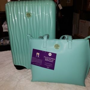 Joy Mangano Hardside metallic Elite  w/ tote